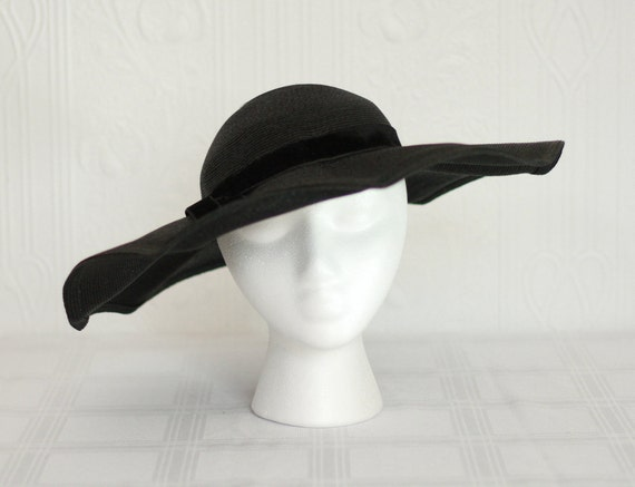 1930's or 1940's black straw hat - wedding