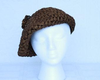 60's or 70'S brown silk ruban beret by Joseph Magnin (I Magnin)