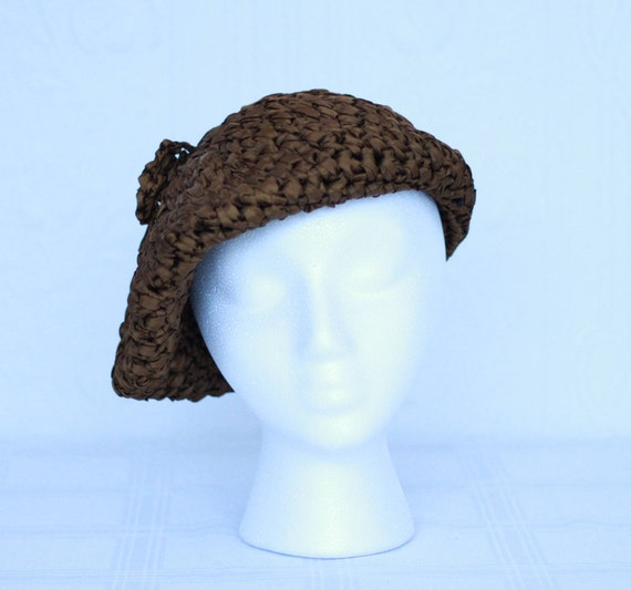 60's or 70'S brown silk ruban beret by Joseph Magn