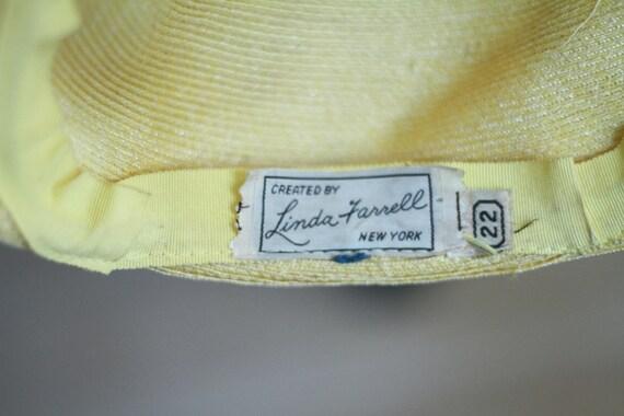 40's 50's yellow summer straw hat - small medium - image 5