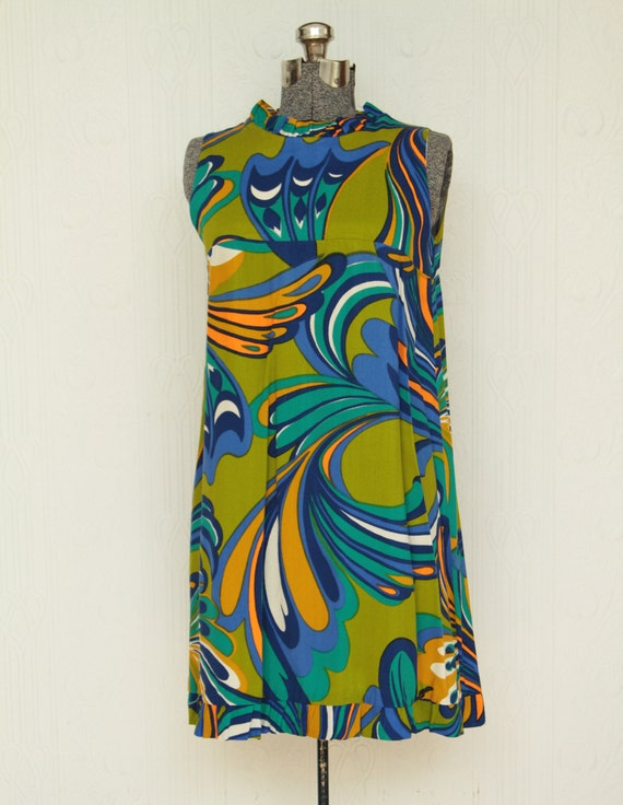 Cute 60's or 70's mini dress with psychedelic prin