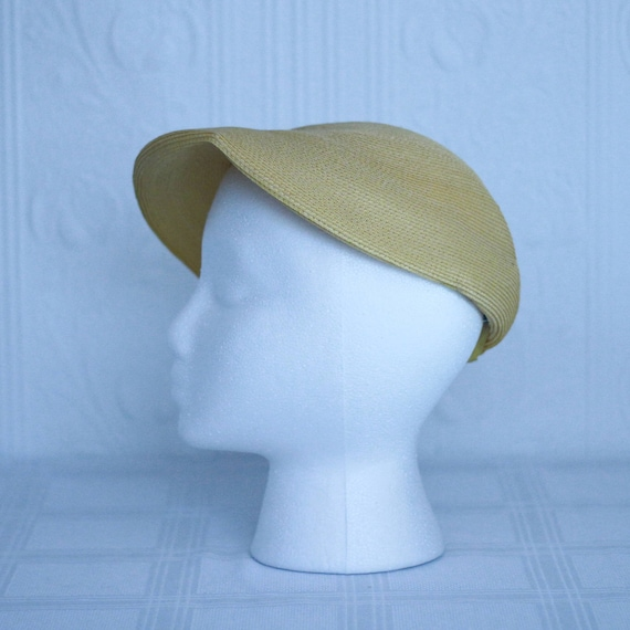 40's 50's yellow summer straw hat - small medium - image 4
