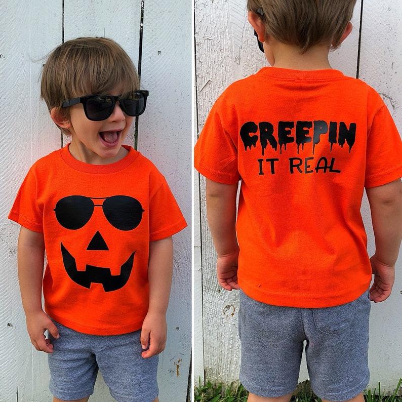03557f8f Cute Pumpkin Face Kids Halloween Shirt Creepin it Real cool | Etsy
