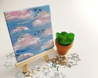 Fly Away Cotton Candy Clouds Mini Canvas
