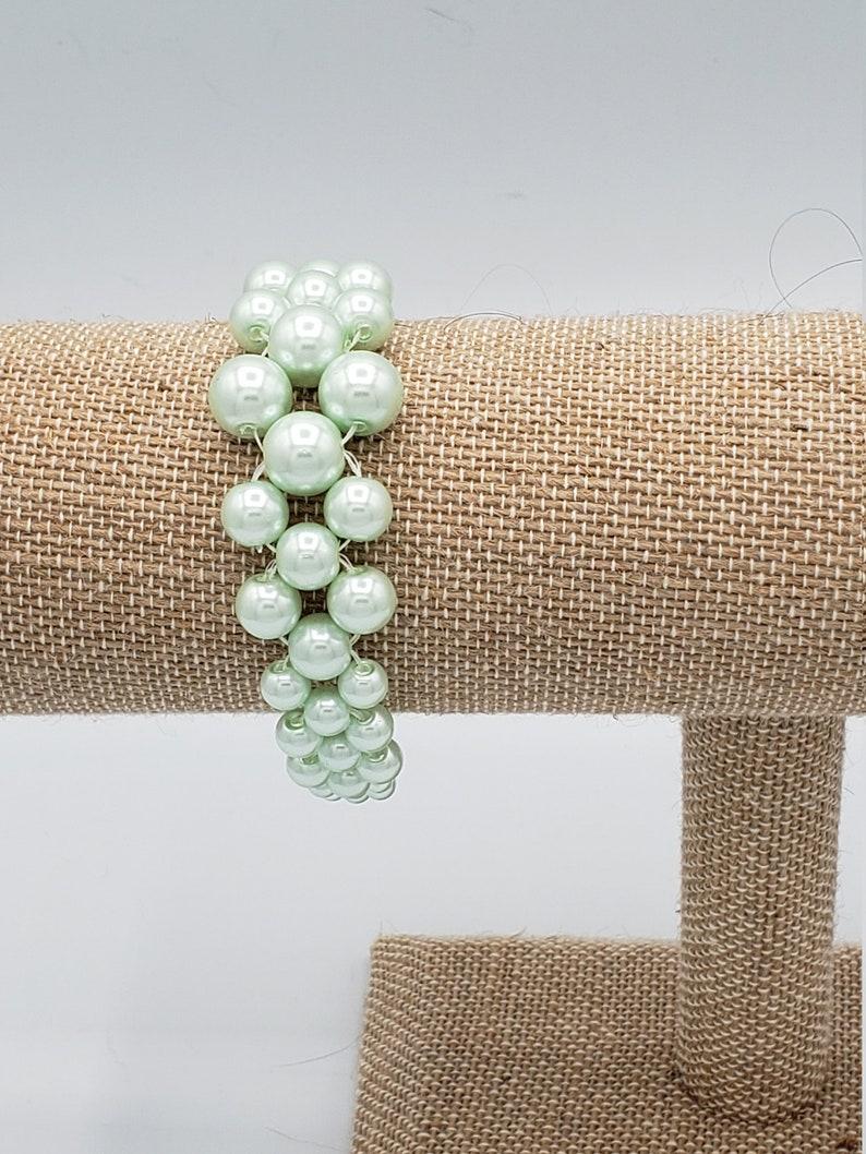 Decreasing Sized Pearl Bracelet Mint Green Pearl Netted Bracelet Hand Woven Green Pearl Bracelet Chunky Bracelet Classy Pearl Bracelet