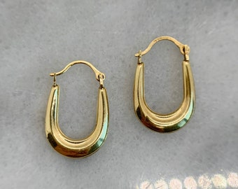 Lovely Vintage 10k Solid Yellow Gold Oval U-Shaped Small Hoops Tapered Hollow Earrings - 19mm drop