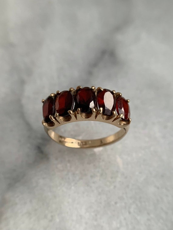 Spready Vintage 9k Solid Yellow Gold Garnet Five … - image 4