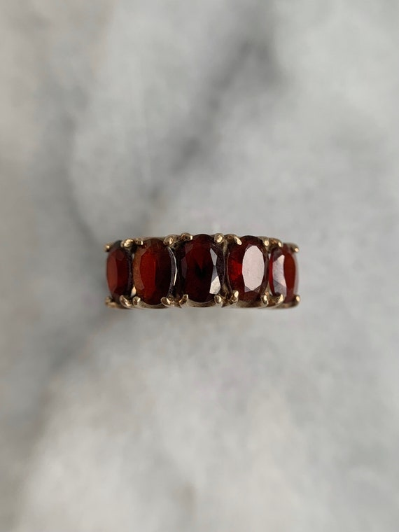 Spready Vintage 9k Solid Yellow Gold Garnet Five … - image 5