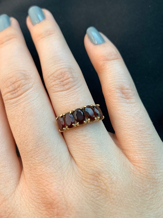 Spready Vintage 9k Solid Yellow Gold Garnet Five … - image 8