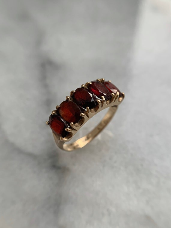 Spready Vintage 9k Solid Yellow Gold Garnet Five … - image 2