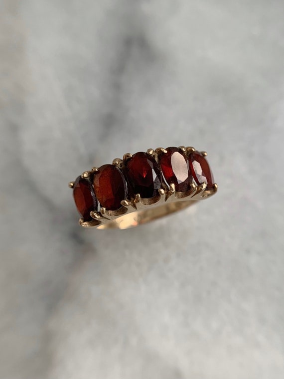 Spready Vintage 9k Solid Yellow Gold Garnet Five … - image 1
