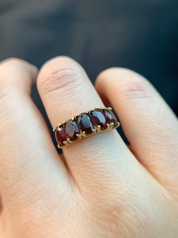 Spready Vintage 9k Solid Yellow Gold Garnet Five … - image 9