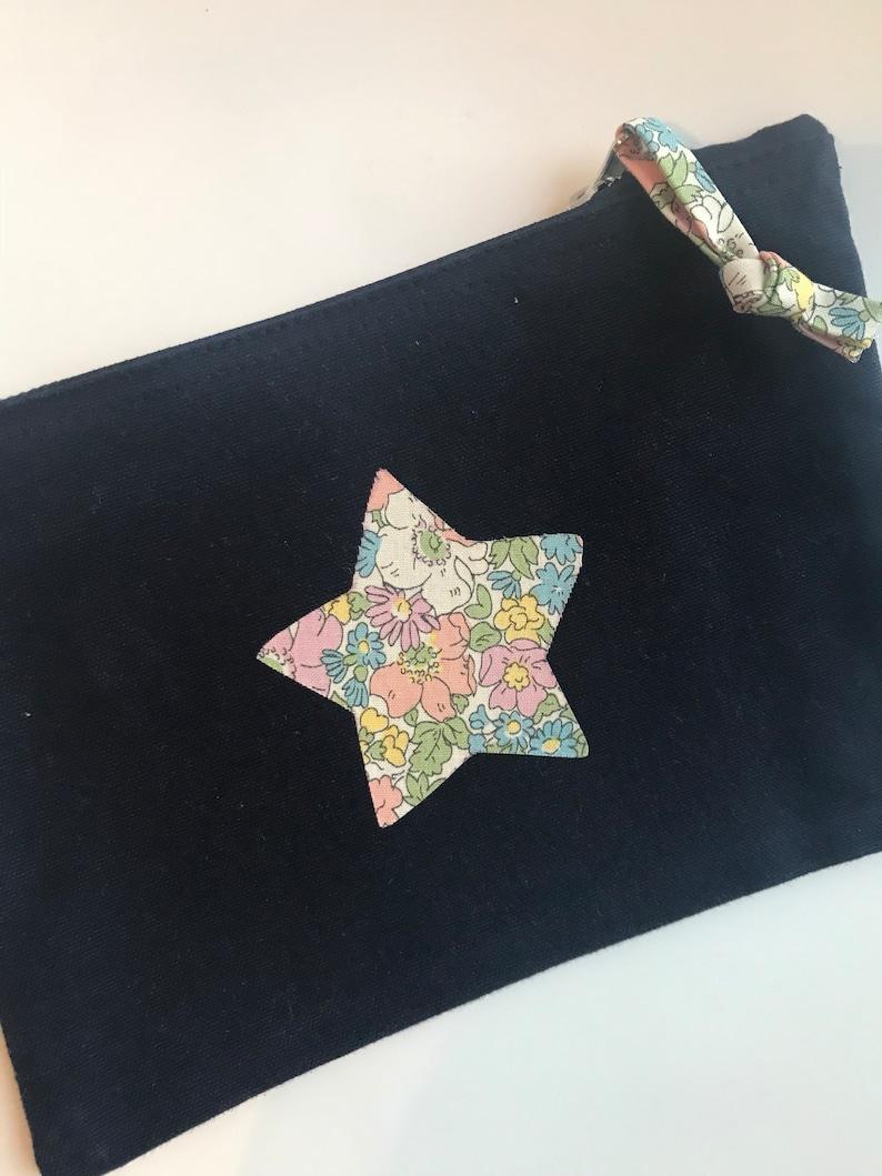 Navy liberty print pouch