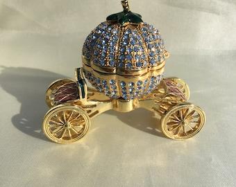 Cinderella Faberge Replica Pumpkin on Carriage | Faberge Collectors |  Cinderella Princess Carriage | Pumpkin on Wheels | Carriage Trinket