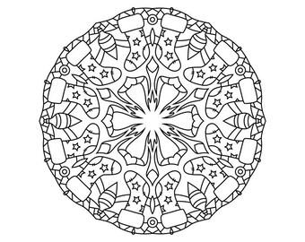 Winter Mandala Holiday Printable Coloring Page