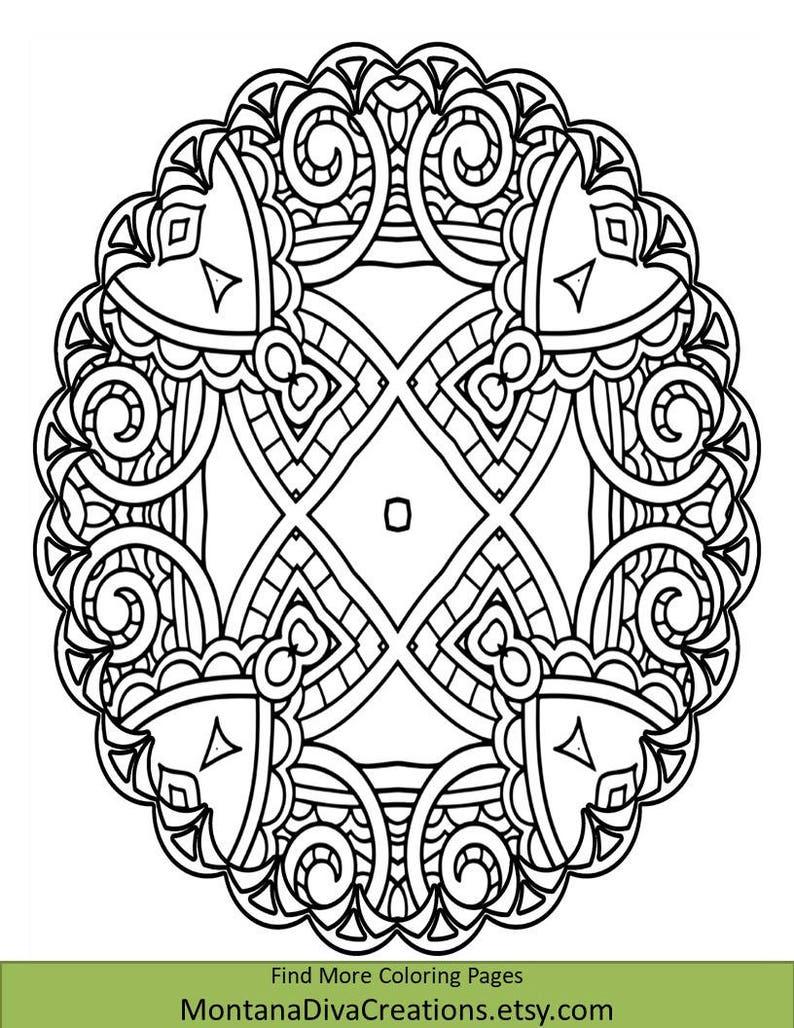 Mandala Coloring Sheet Pretty Pattern Printable Coloring Etsy