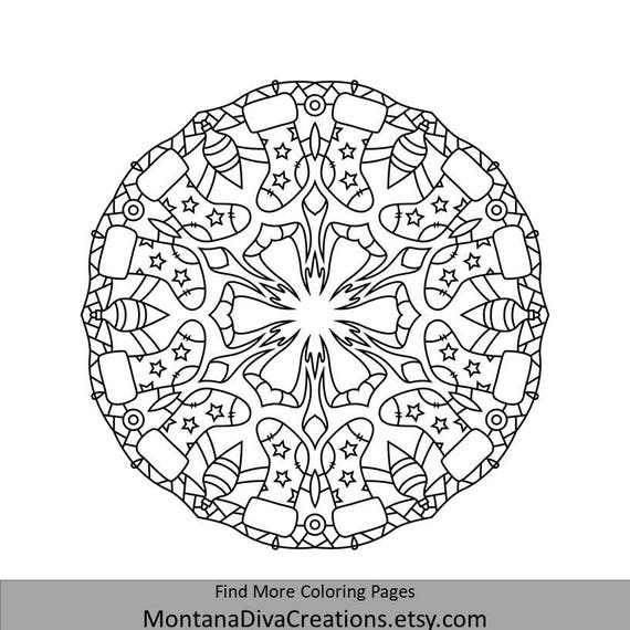 winter mandala holiday printable coloring page instant etsy. Black Bedroom Furniture Sets. Home Design Ideas