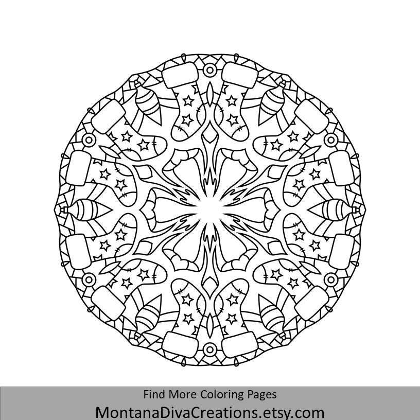 Winter Mandala Holiday Printable Coloring Page Instant Etsy