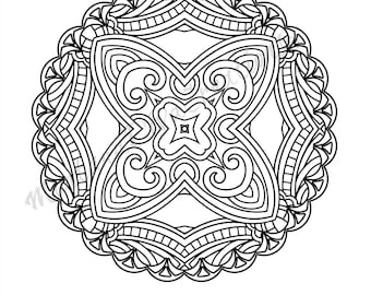 Ornate Geometric Pattern Adult Coloring Page - Printable Coloring Art Therapy - Pretty Pattern - Printable Coloring Page - Instant Download