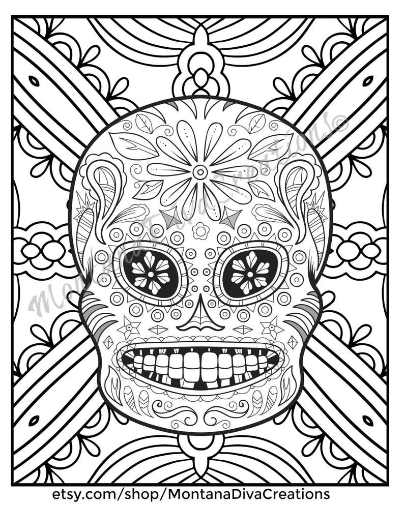 Day Of The Dead Sugar Skull Mandala Coloring Pages Immediate Etsy