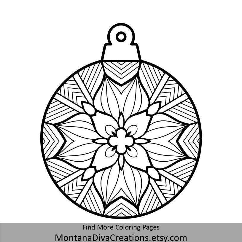 Tree Ornament Mandala Coloring Page Holiday Printable | Etsy