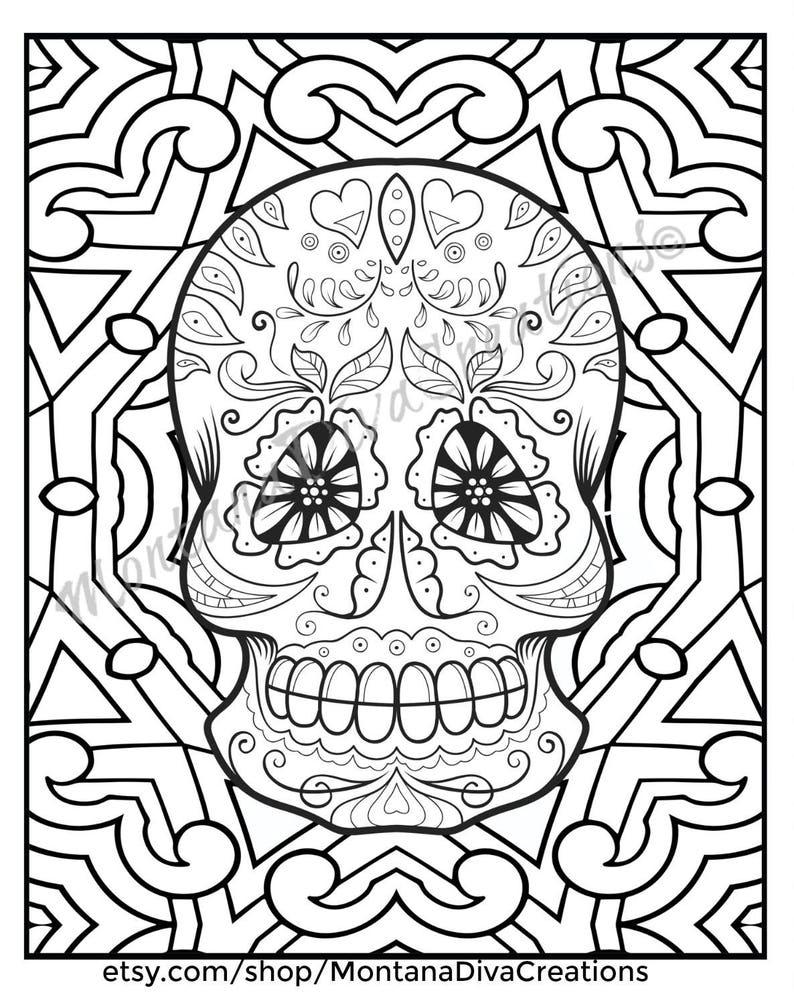 Sugar Skull Printable Mandala Coloring Pages Immediate Digital Etsy