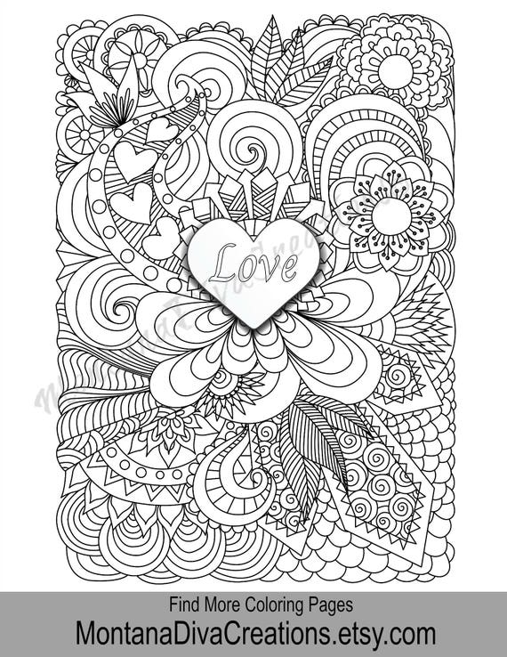 Love Coloring Adult Coloring Page - Printable Coloring Art Therapy - Pretty  Pattern - Printable Coloring Page - Instant Download