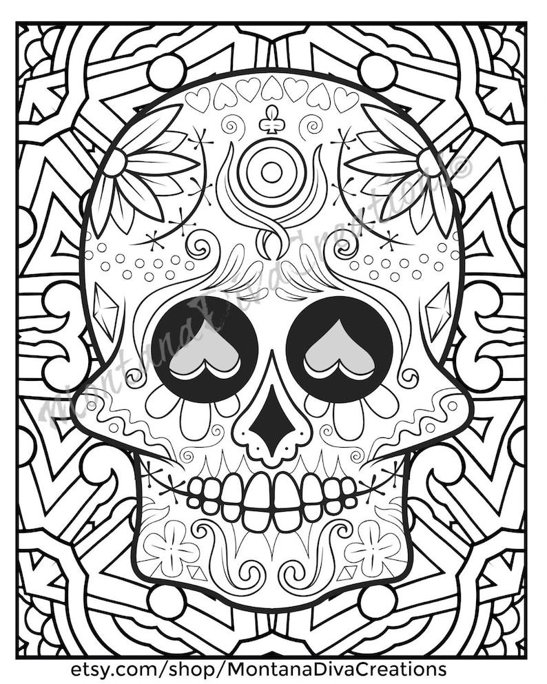 Sugar Skull Mandala Coloring Pages Immediate Digital Download Etsy