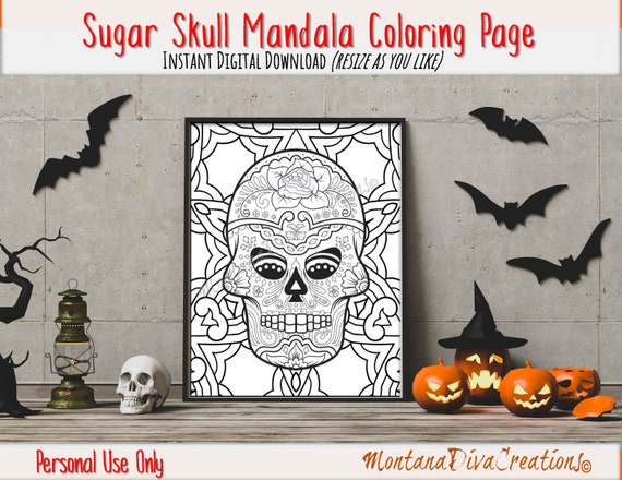Printable Sugar Skull Mandala Adult Coloring Pages Fun Halloween Immediate Digital Download V6