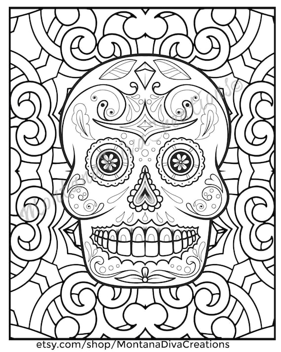 Halloween Day Of The Dead Sugar Skull Mandala Coloring Pages Immediate Digital Download V1