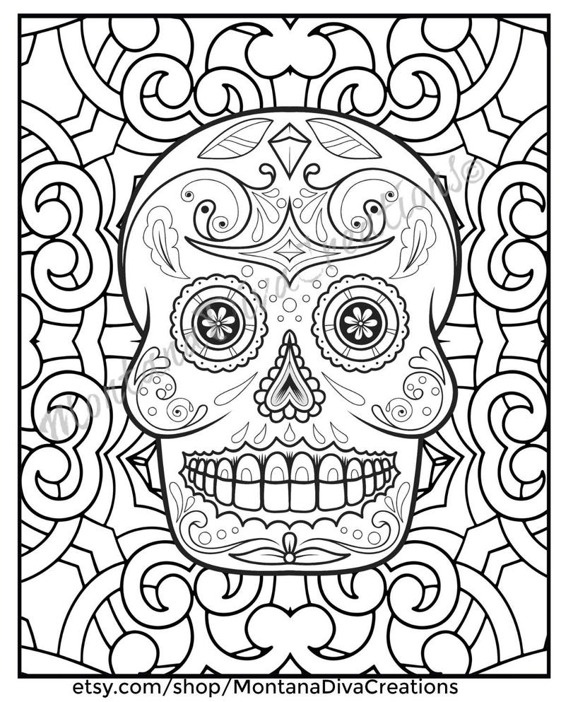 Halloween Day Of The Dead Sugar Skull Mandala Coloring Pages Etsy