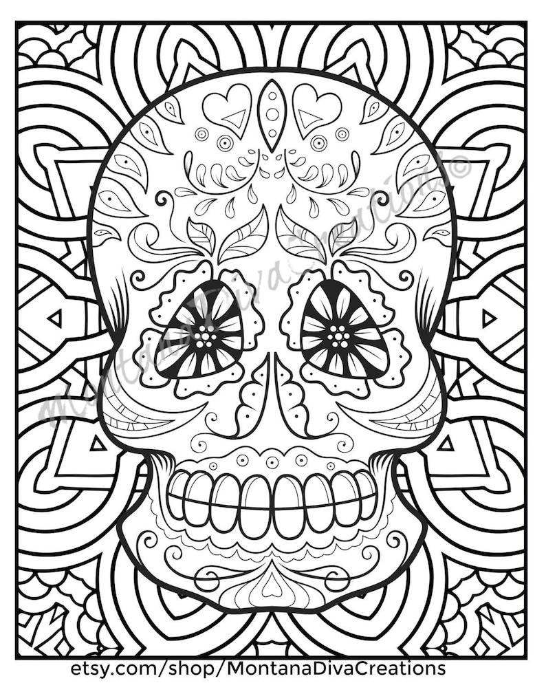 Fun Coloring Page Sugar Skull Mandala Coloring Pages Immediate | Etsy