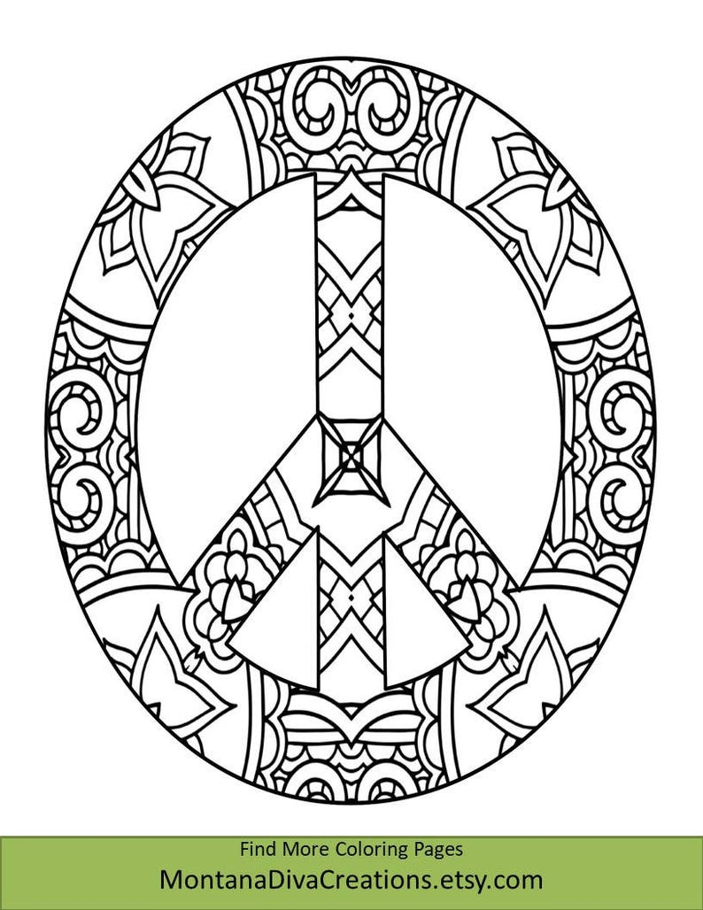 Peace Sign Coloring Sheet Pretty Pattern Printable Etsy