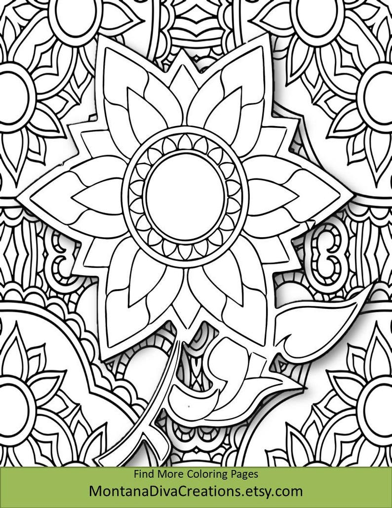 Floral Abstract Art Coloring Sheet Pretty Pattern Printable Coloring Page Instant Download Mindfulness Page