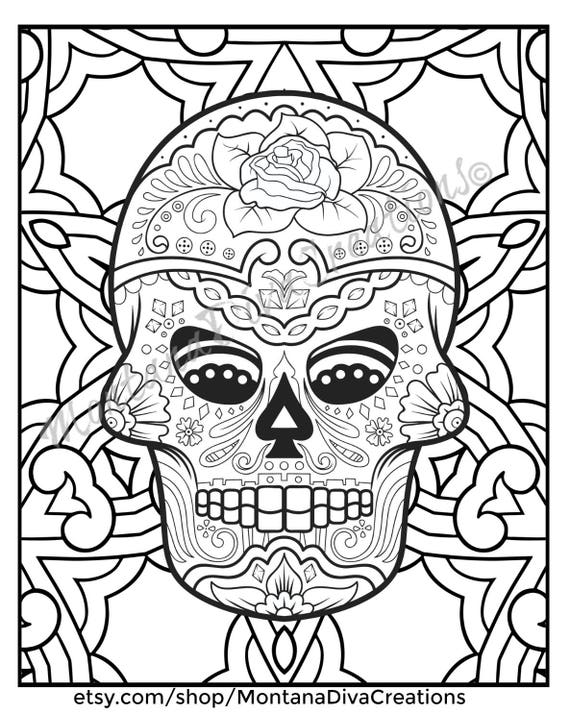 Fun Halloween Printable Sugar Skull Mandala Coloring Pages Immediate Digital Download V6