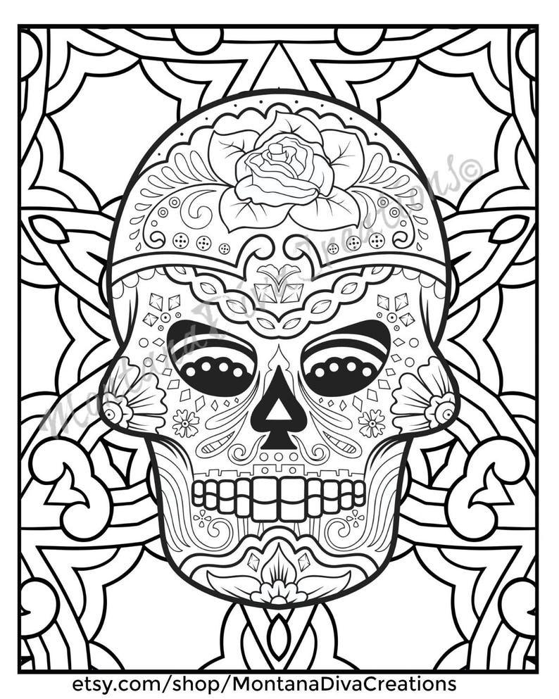 Fun Halloween Printable Sugar Skull Mandala Coloring Pages Etsy