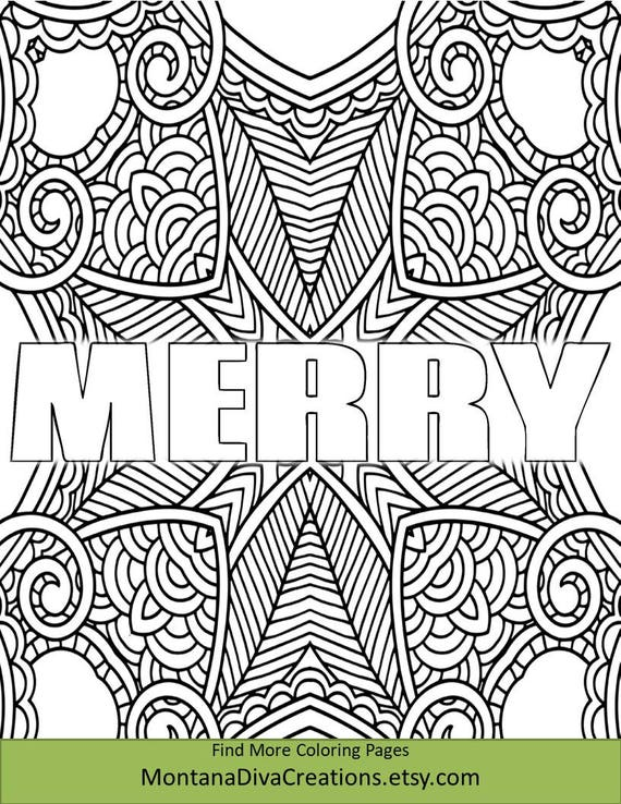 Merry Christmas Coloring Sheet Pretty Pattern Printable Etsy