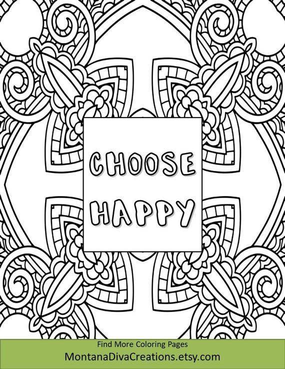 Inspirational Geometric Coloring Sheet Printable Coloring Page - Instant  Download - Coloring Therapy Themed Mindfulness Page