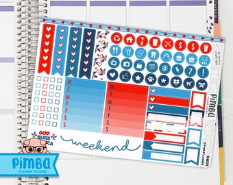 IN105 - 4th of July - Red & Blue - American Checklists and Headers Stickers - Weekend Banner - 5x7 - Activities Dots - ECLP - Happy Planner