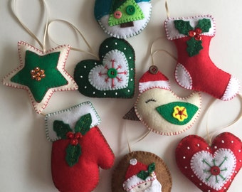 felt christmas ornaments christmas decorations bird ornaments star ornaments christmas stockings santa ornaments christmas decor - Etsy Christmas Decorations