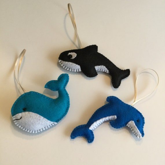 Felt Sea Animal Ornaments Felt Dolphin Ornament Felt Orca Etsy