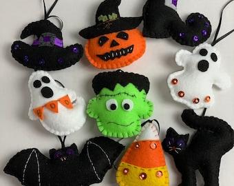 halloween decorations, Halloween decor, halloween ornaments, felt ghost ornaments, felt halloween ornaments, felt ornaments