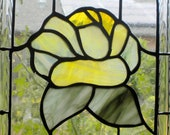 Stained Glass Arched Window Hanging Panel Victorian Yellow Rose Style Suncatcher jp20192