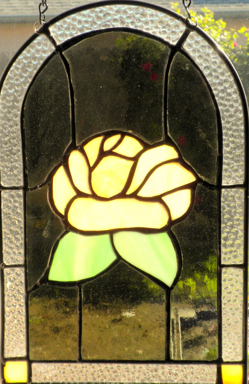 Stained Glass Arched Window Hanging Panel Victorian Rose Style Suncatcher #jp20193