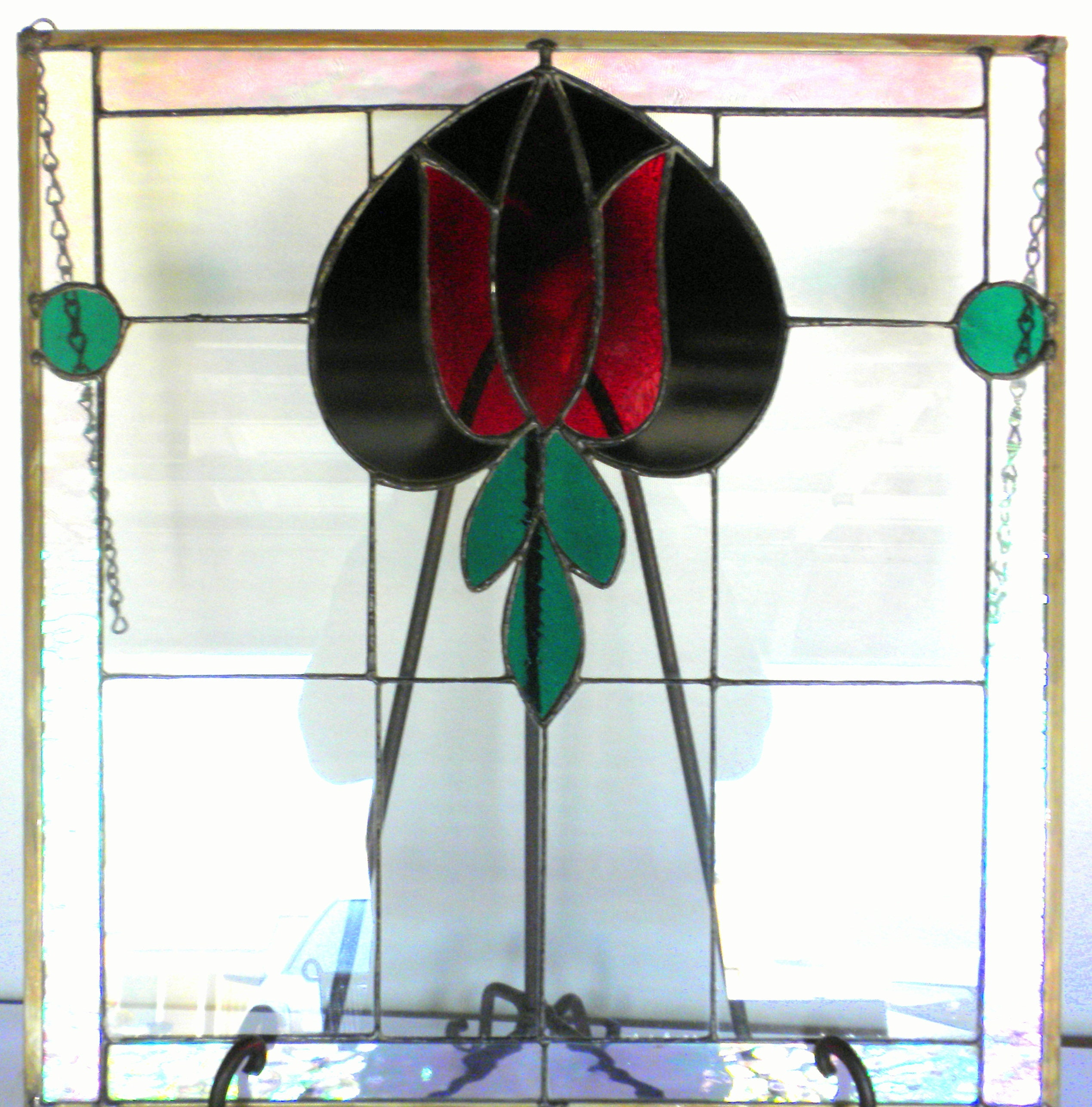Victorian Red Tulip Stained Glass Hanging Window Panel