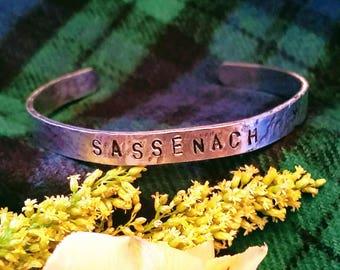 Sassenach Outlander hand stamped bracelet