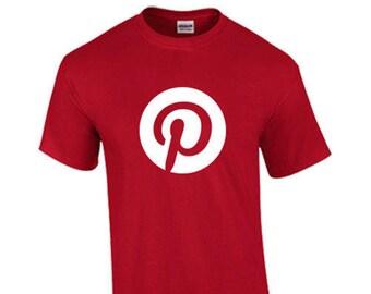 T-Shirt Pinterest Social Media Networking Custom Shirt & Ink Color