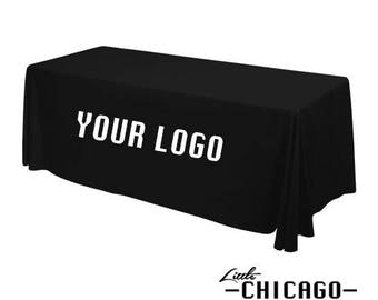 Delightful 6u0027 Fitted Custom Print Tablecloth Banquet Event Table Throw Cover   BLACK