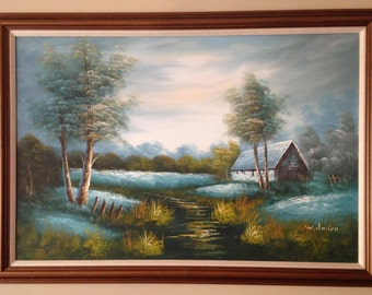 Vintage original signed oil painting W. Amion Landscape-Large
