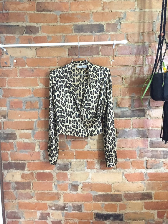 Buttery Silk Leopard Print Cropped Wrap Blouse